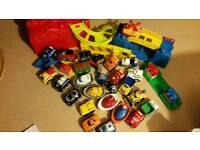 Big bundle of mega blocks toys, table and blocks inç car ramp etc