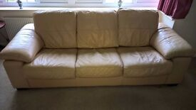 Cream leather sofa and 2 chairs