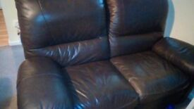 1 x 2 seater leather recliner settee. 1 x 3 seater leather recliner and 1 x 2 seater fabric setees