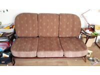 Ercol 203 3 seater sofa and two armchairs