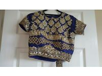 Eid Indian Pakistani Heavy 5kg Silk Blue Lengha/Choli with heavy embroidery and six layers size 8