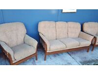 Light Brown Floral Three-seater Sofa and Armchairs in Good Condition