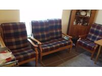 Wooden tartan furniture set -1 Sofa and 2 Chairs