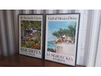 Collectors item vintage Florida holiday posters pictures signed by John Dineen in 2000