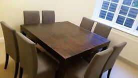 Lombok teak dining table (140cm square, seats 8) plus 8 x ikea grey and dark wood chairs