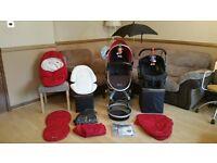 Silver Cross Surf Full Travel System - Pushchair Pram Stroller With Car Seat & Extras