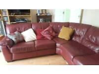 Large leather corner settee