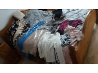 Quality clothes some still have labels plus 3 leather handbags and 2 pairs shoes