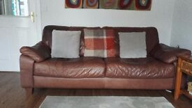 DFS brown leather 3 seater and 2 seater sofas collection only