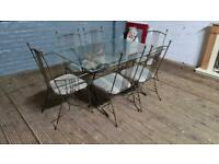 RETRO GLASS DINING TABLE 6 METAL CHAIRS