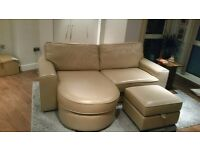 100% Leather Lounger Sofa + Footstool (DFS) - Immaculate