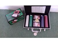 Poker counter with cards and also card shuffler