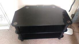 smoked glass 3 tier tv table