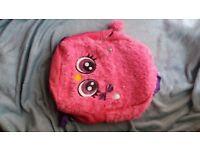 Pink fluffy backpack School bag