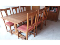 Oak Dining Room Furniture, Table with 6 chairs, Bookcase and Sideboard in excellent condition..