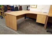 Large beech corner office desk