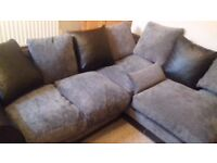Corner Sofa set 2 piece Grey and Black with Cushions RRP £750