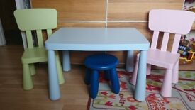 Items for sale table and stroller
