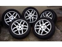 17INCH 5 X ALLOY WHEELS WITH VERY GOOD TYRE'S
