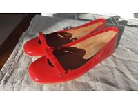 New red patent leather Hobbs flats size 38 (UK 5- 5 1/2)