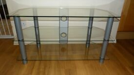 """Large 3 tier glass / silver TV Stand - 37"""" wide (95cm W x 39cm D x 49cm H)"""