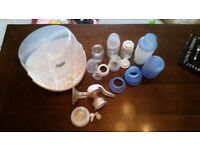 Breast pump, bottles and steriliser