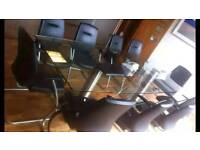 QUICK SALE 10 seater Glass Table / boardroom leather Chairs included