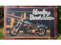Hand Painted Harley Davidson Sign on Planks of Wood, Hand Made, Pop Art, Wall Art, Motorcycle