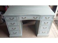 Vintage pedestal writting desk painted duck egg blue