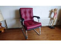 VINTAGE DATED 1979 VERCO TWO TONE VINYL CHROME FRAMED DESIGNER OCCASIONAL CHAIR MODERN OFFICE HOME
