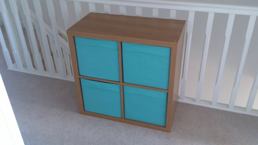 ikea kallax oak effect storage unit with boxes in radstock somerset gumtree. Black Bedroom Furniture Sets. Home Design Ideas