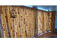 Wall of Curtains - Gold, cream and tan (suitable for patio doors).