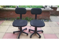 Two, height adjustable chairs