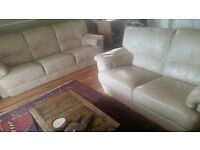 Ivory/beige leather sofa suite £65.00 for both sofas