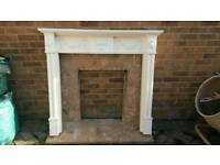 Fire surround, marble hearth and back