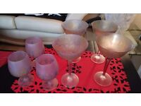 Set of 7 glasses. Beautiful hand blown glass from Jordan (hand made).