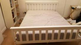New white double wooden bed frame
