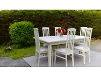 Beautiful, Large Dining Table & 6 Chairs. Shabby Chic, Pale Cream. Delivery Available.