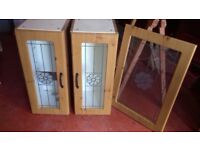 Pair of cabinets with glass shelves and matching door as in photo