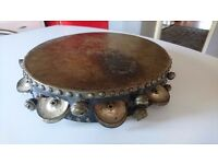 ANTIQUE UNUSUAL 10 1/2 INCH WOODEN SKIN CYMBALS BELLS TAMBOURINE ALL ORIGINAL UN-MOLESTED SOUNDS FAB