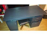 Black Computer Desk & 3 Chair