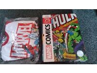 Marvel hardback comicbook and 3/4 large tshirt