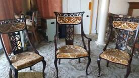 3 Queen Anne ornate upholstered Chairs