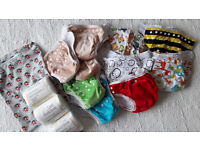 NEW 10 Reusable/washable nappies + accessories