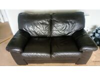 Dark brown leather 2 seater couch