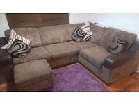 DFS BROWN CORNER SOFA WITH POEF