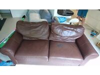 Brown leather sofa, free for uplift