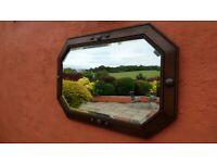 Large Antique Vintage Jacobean Style Octagon Bevelled Mirror