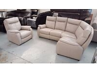 FURNITURE VILLAGE JEMIMA GREY LEATHER CORNER SOFA & ARMCHAIR CAN DELIVER Collect NG177GR
