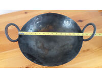 STEEL PLATE BALTI PAN WITH 2 HANDLES